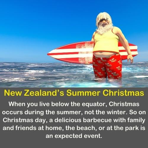 Funny Santa Claus in the summer on the beach.