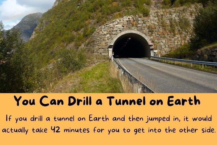 Tunnel inside the Earth.