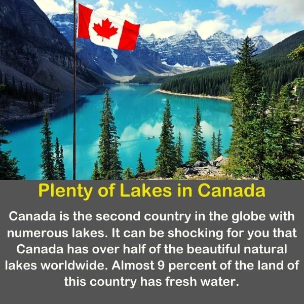 Geography fun fact 10 - Canada's flag on the mountain landscape.