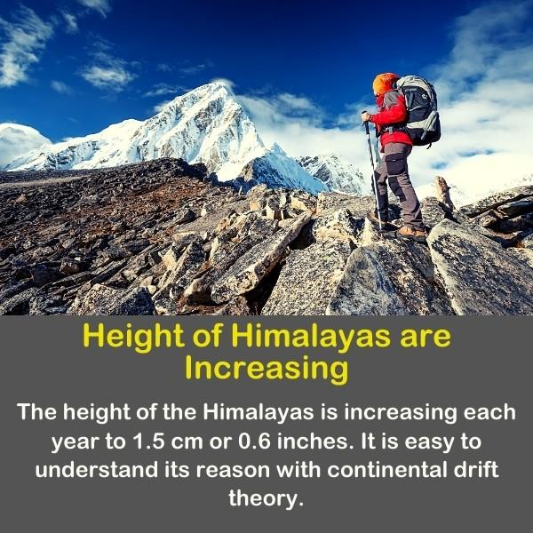 Geography fun fact number 19 text - and a photo of a man on the Himalayas.
