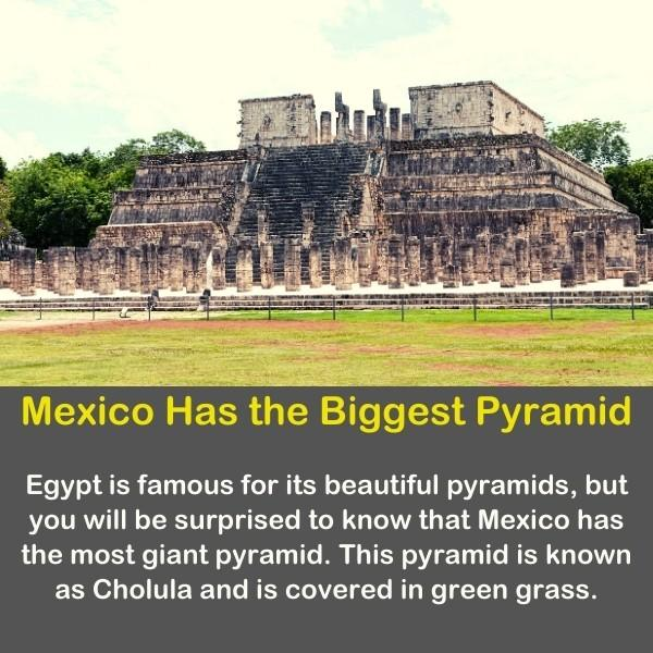Mexican pyramids with geography fact text