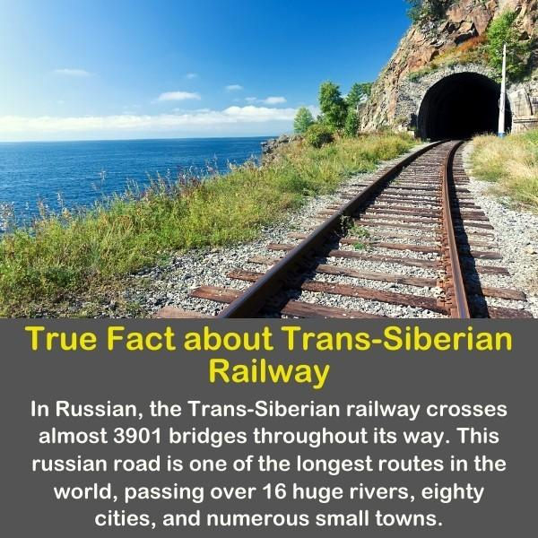 Trans-Siberian Railway. with geography fact text.