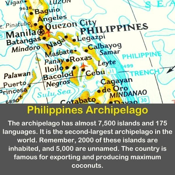 Philippines Archipelago with geography fact text.