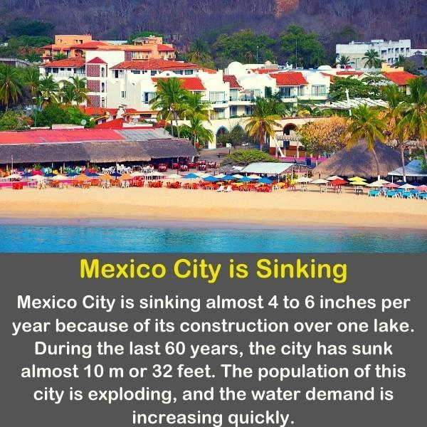 Mexico city coast with geography fact text.