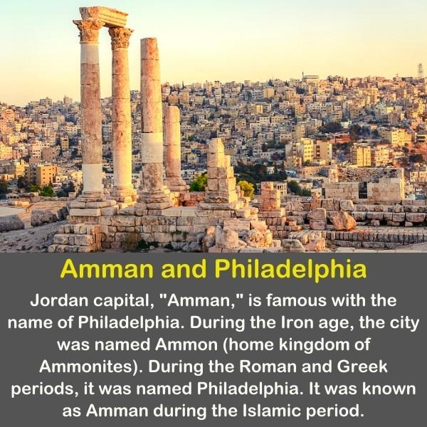Amman historical remains with geography fact text.