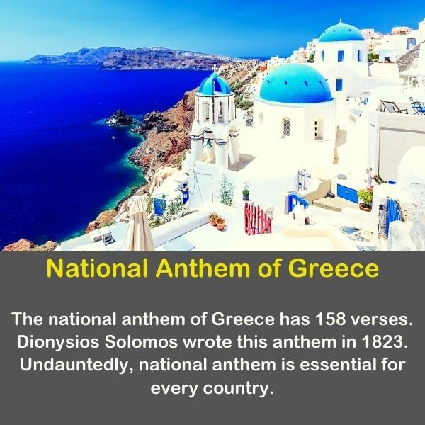 Geography fun fact about the National Anthem of Greece