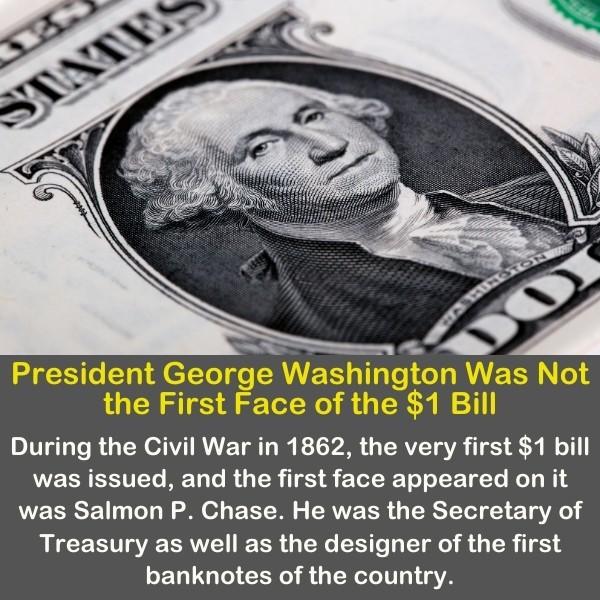 President George Washington on a dollar bill.