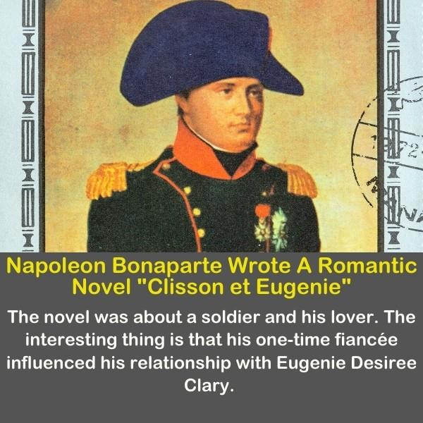 Napoleon Bonaparte in a colorful image with his blue hat.
