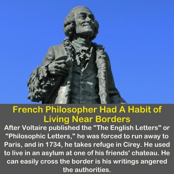 A statue of Voltaire, the French philosopher.