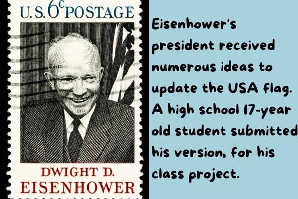 The US president Eisenhower on top of a post office stamp.