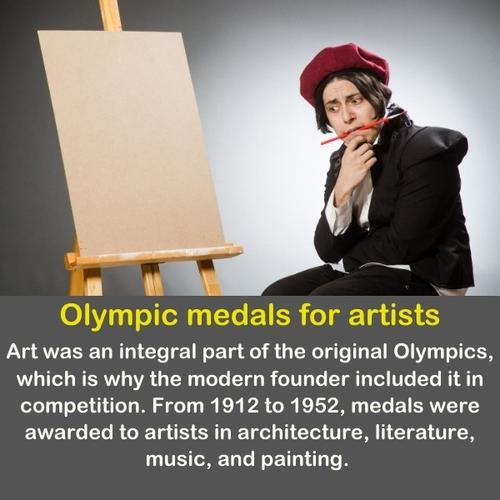 Funny painter thinking about his art.