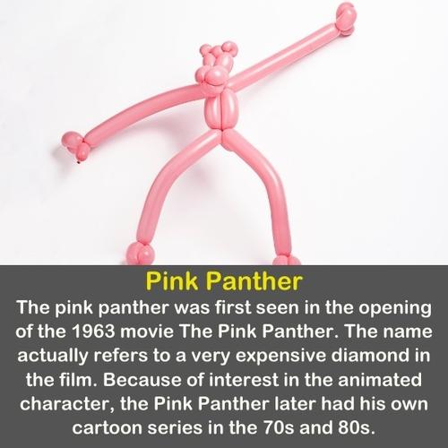 The pink panther made of pink balloons.