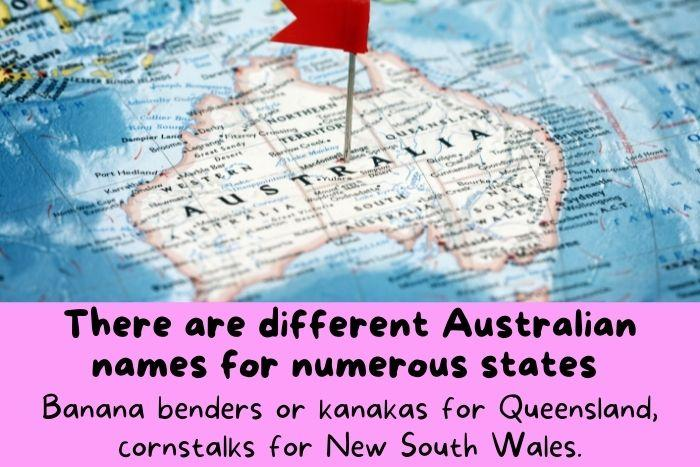 Australian land on a map