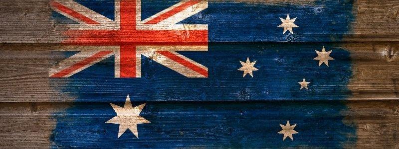 Australian flag on a wood.