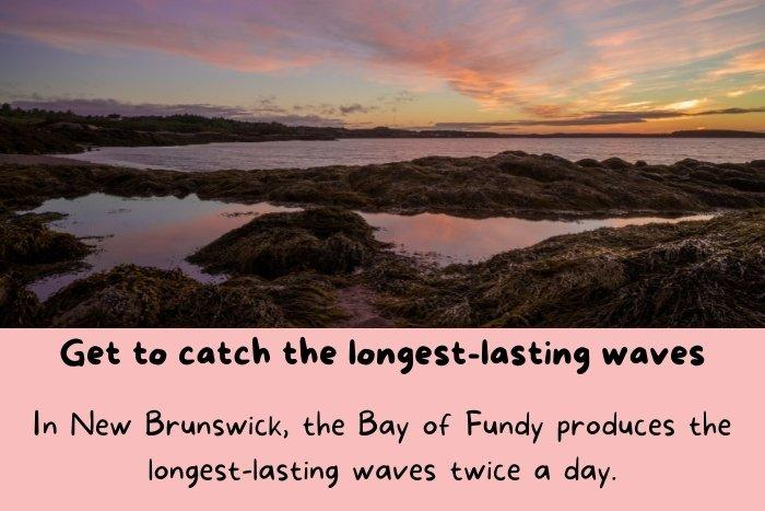 New Brunswick, the Bay of Fundy produces the longest-lasting waves