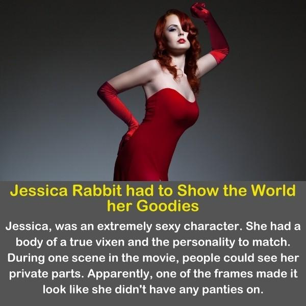 Jessica Rabbit in a red dress.