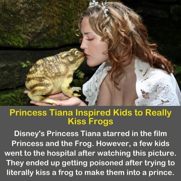 Disney's princess kissing a frog.