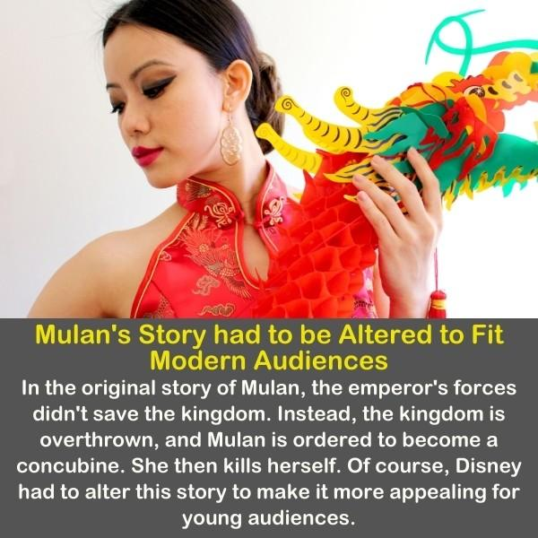A woman dressed as Mulan and dancing.