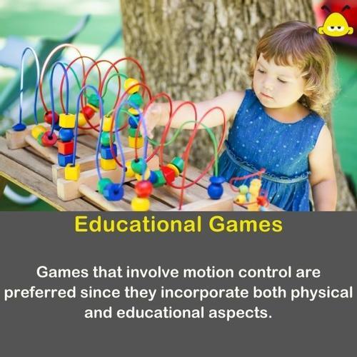 A little girl plays an educational games