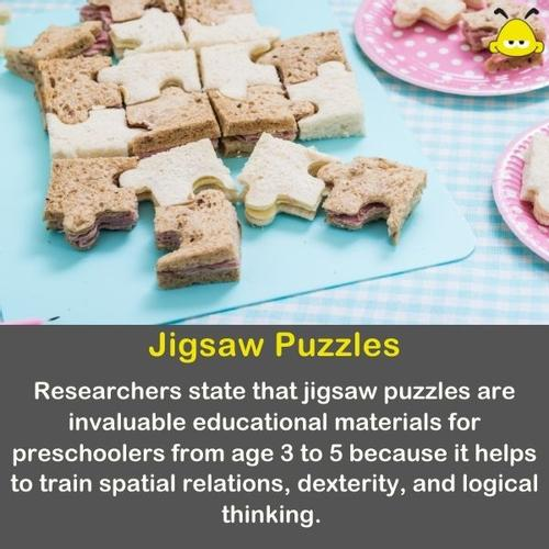 Jigsaw puzzles made of small sandwiches