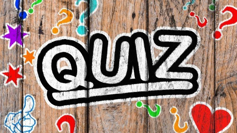 The word quiz is written on a wooden wall.