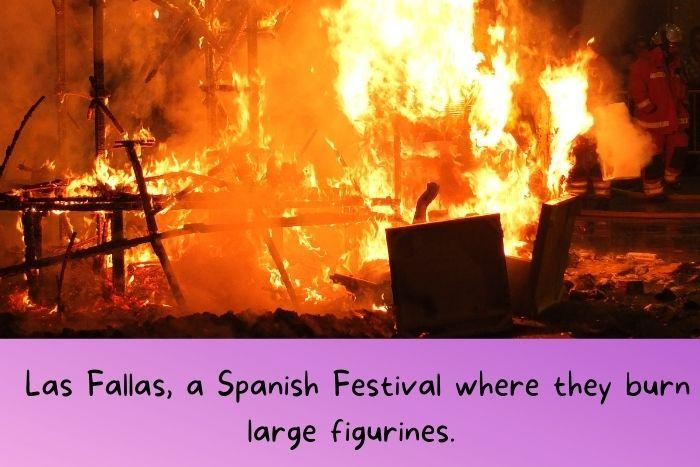 Spanish Festival where they burn large figurines.