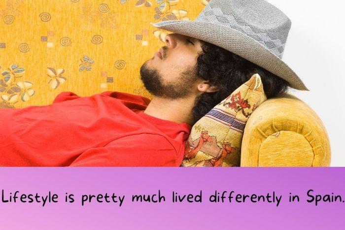 A man is sleeping during a siesta.