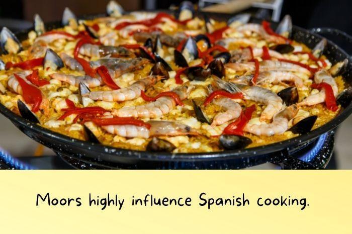 Spanish paella cooking.