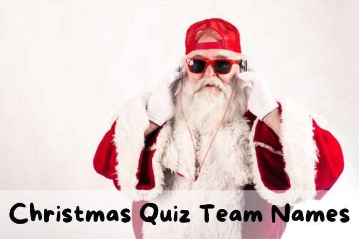 A funny Santa playing Christmas trivia.