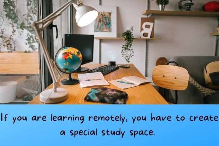 A study environment with a globe of the world.