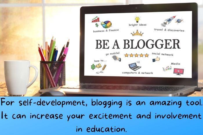 Be a blogger written on a computer screen.