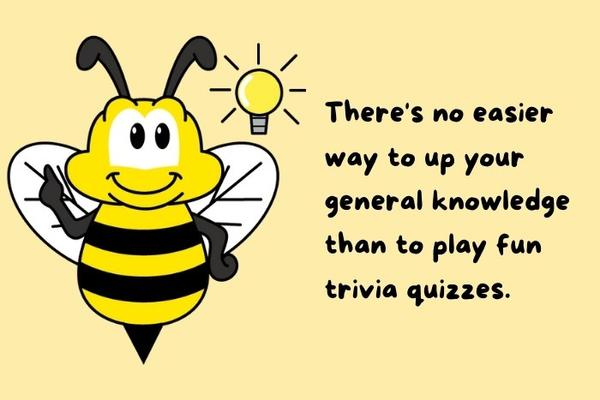 Our Bee Mascot. You can improve your general knowledge with crowdstrivia.com