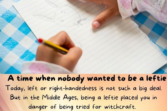 A left handed kid writing.