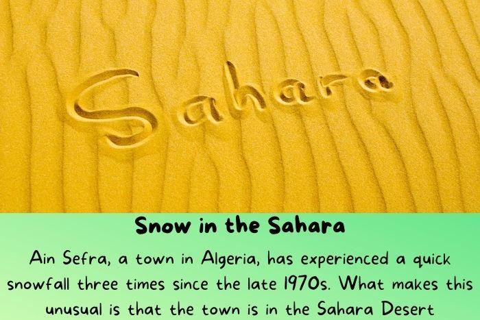 "The ""Sahara"" word is written on the sand of the Sahara"