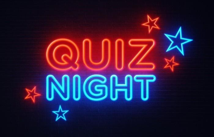 A neon sign of quiz night, in which people play trivia quizzes.