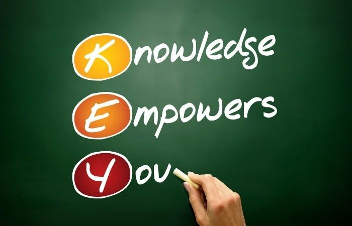 The words knowledge empowers you written on a chalkboard to emphasize the power of trivia.