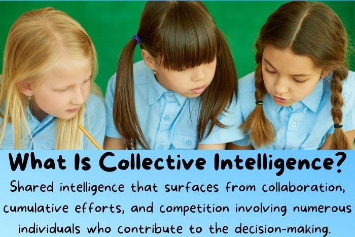 Three little girls think and using collective intelligence.