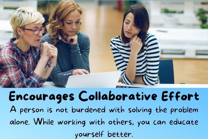 Three women at work thinking together and using collective intelligence.