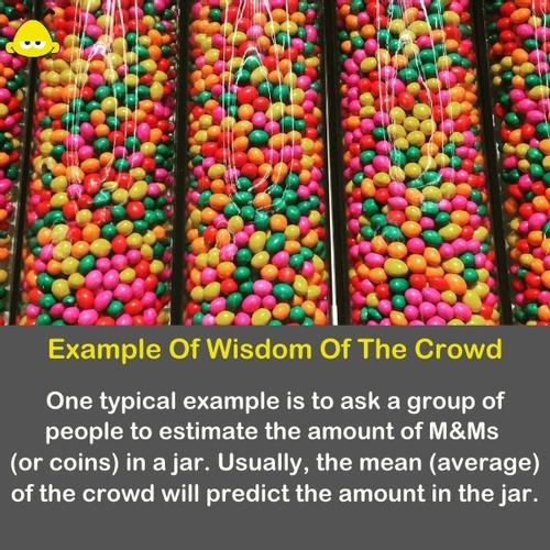 M&M in a jar - A typical example of the wisdom of the crowd is guessing how many M&M in a jar.