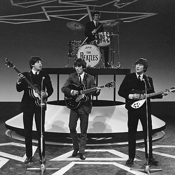 The Beatles during a tv show.