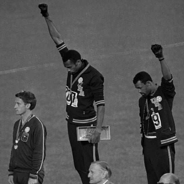 Black power salute in the 1968 Olympics.