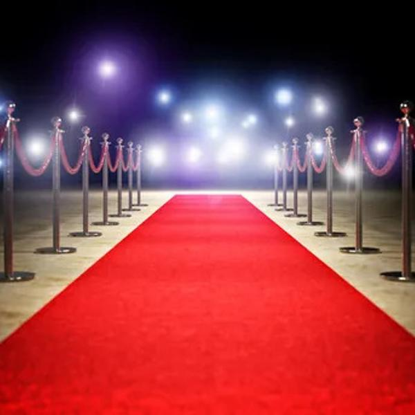Shining red carpet in a celebrity event.