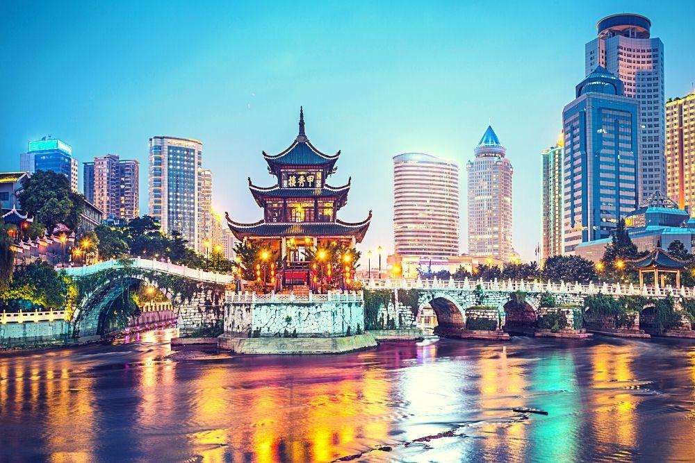 A colorful skyline of Guiyang, China