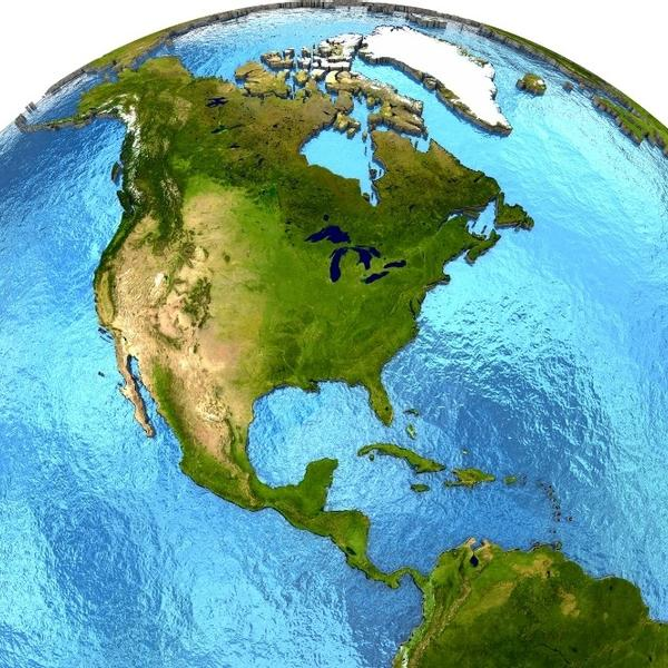 An Earth model with focus on the oceans.