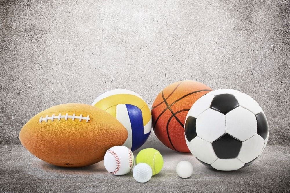 All the sports balls such as Football, Soccer, basketball, Tennis, boxing gloves, and more.