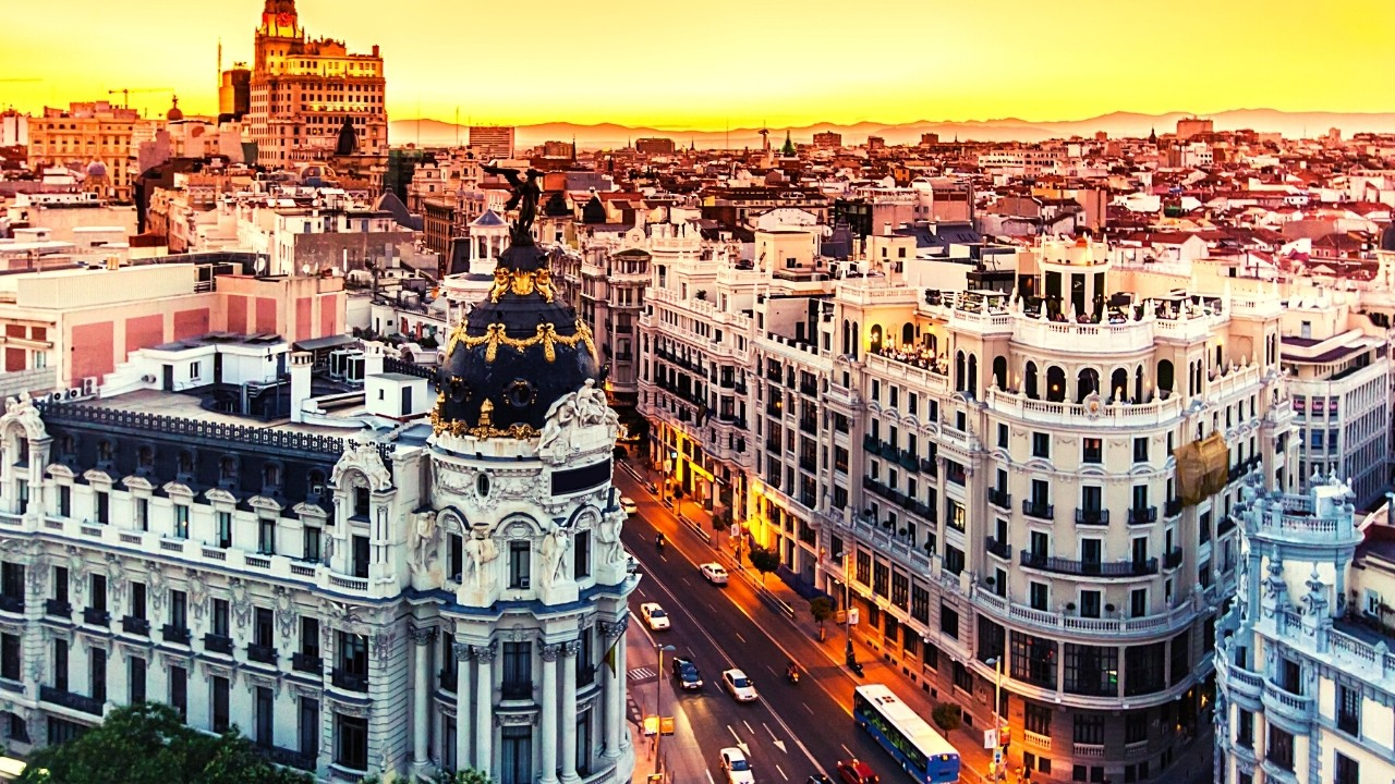 Madrid, The capital of Spain, in the sunset.