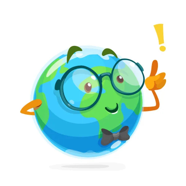 Funny geography mascot of the earth with glasses.