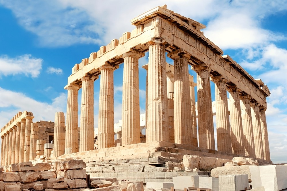Parthenon temple from the Greek Mythology, in Acropolis in Athens, Greece.