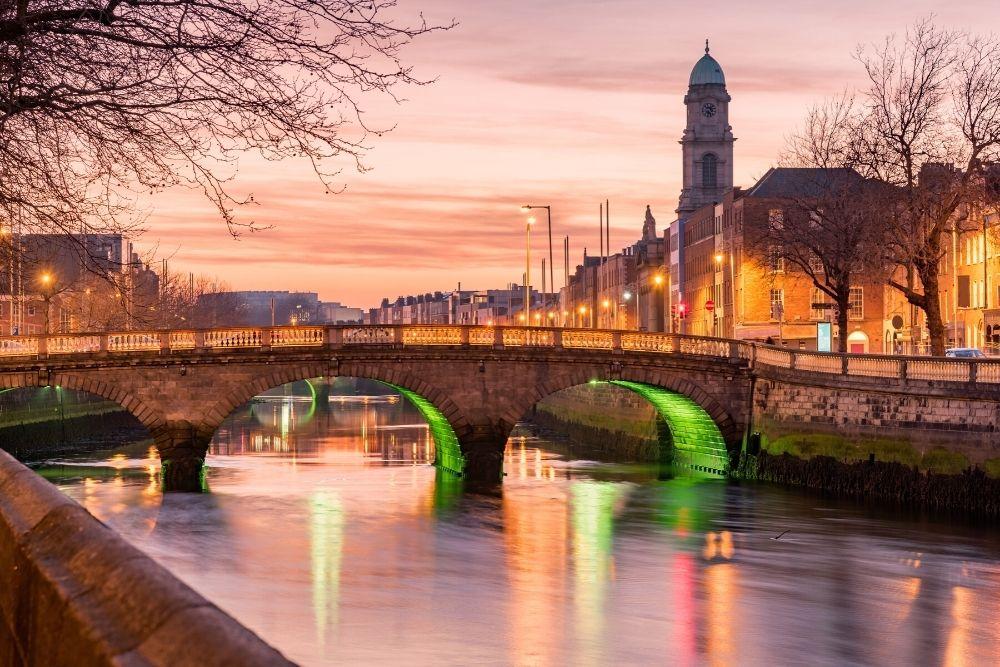 Grattan Bridge in Dublin, Ireland on the evening.