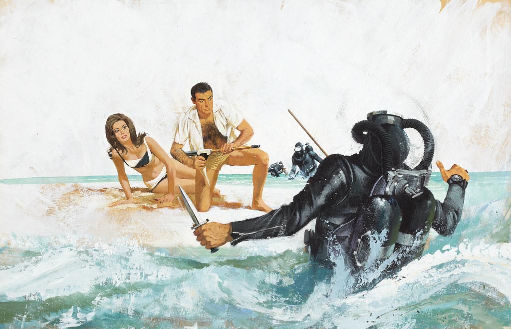 James Bond Thunderball movie promotion illustration,